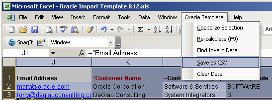 Oracle template custom menu