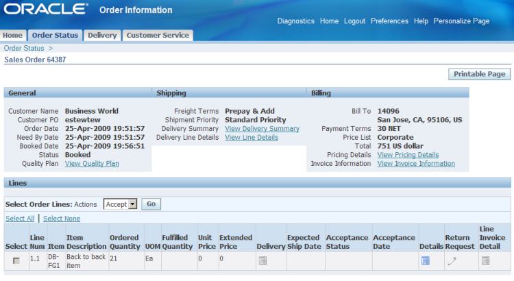 Order, Delivery, and Invoice Details