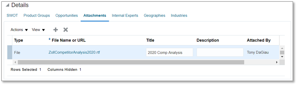 Competitor Attachments tab. Useful for uploading detailed analysis documents to Oracle CX Sales