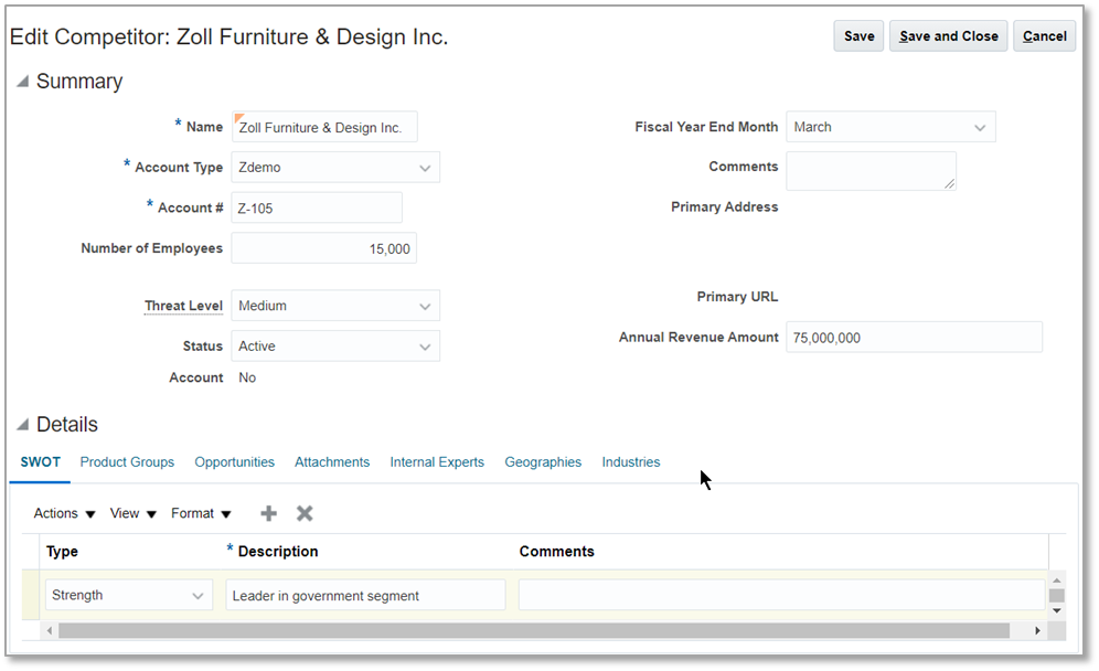 Oracle CX Sales Edit Competitor page