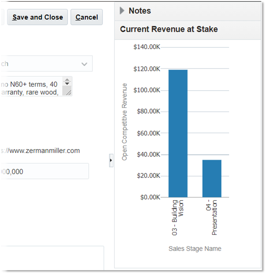 Oracle Competitors page embedded report showing related pipeline revenue