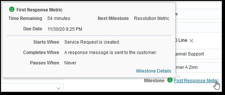 B2B Service Cloud First Response milestone popup window