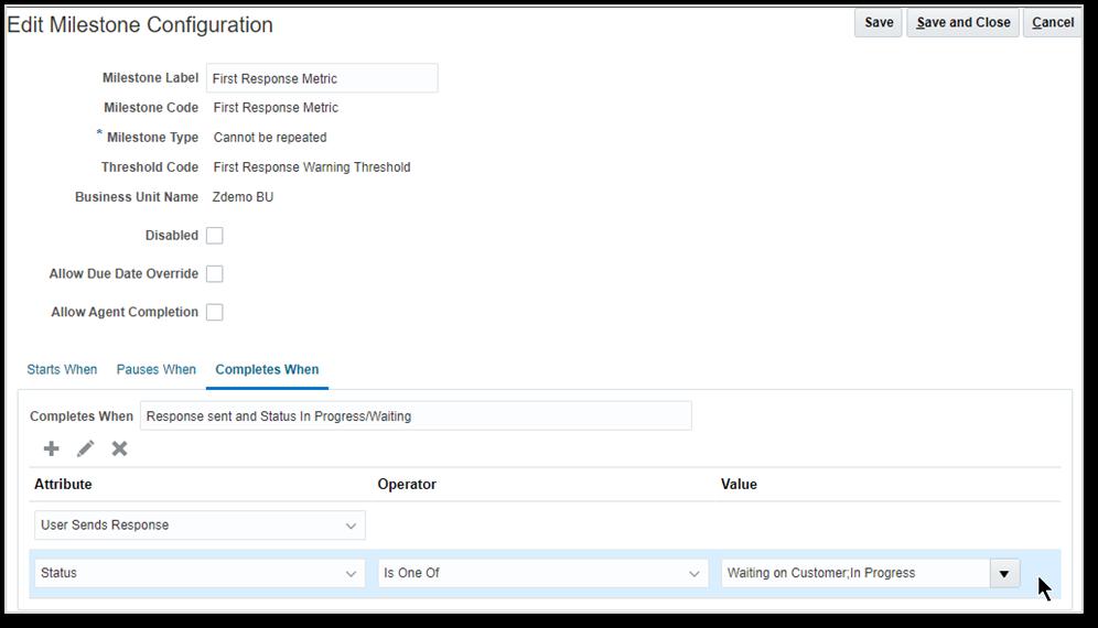 Oracle CX Service Cloud's Edit Milestone page