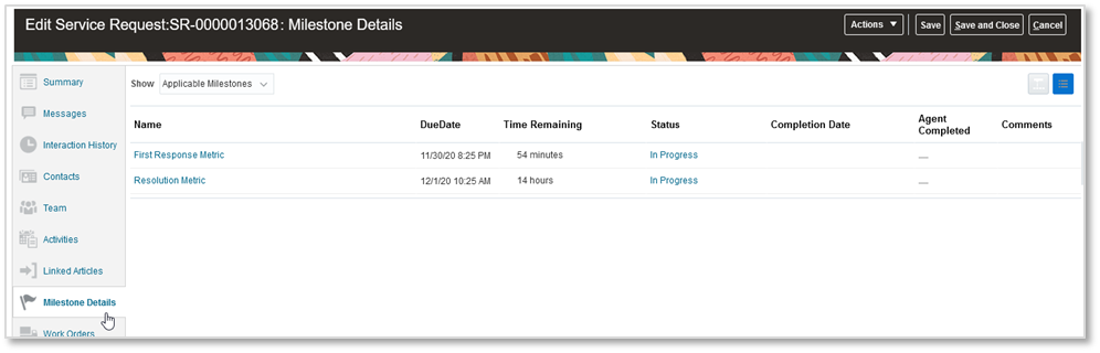 Oracle service request Milestone Details subtab