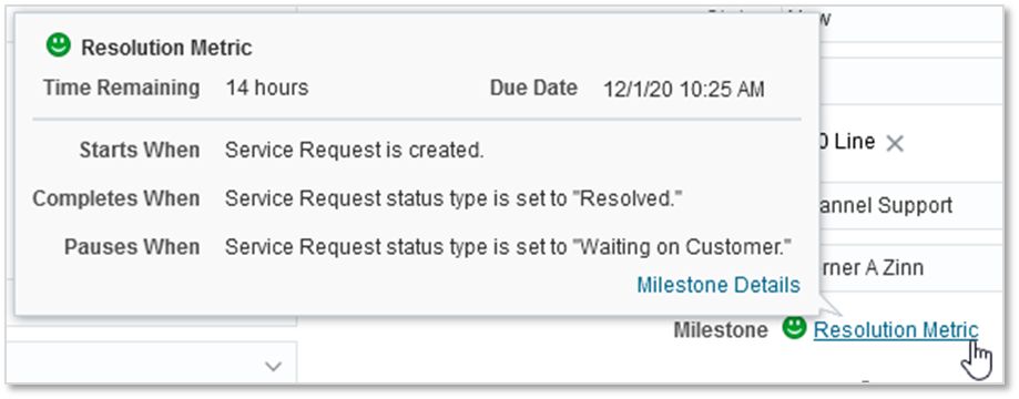 Oracle B2B Service Cloud's milestone pop-up window for resolution metric