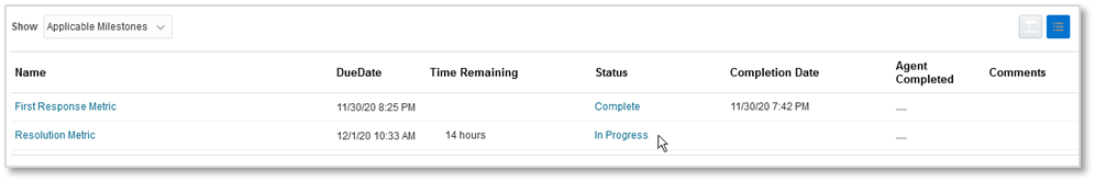 Oracle B2B Service Cloud milestone details showing completed first response and in progress resolution milestones