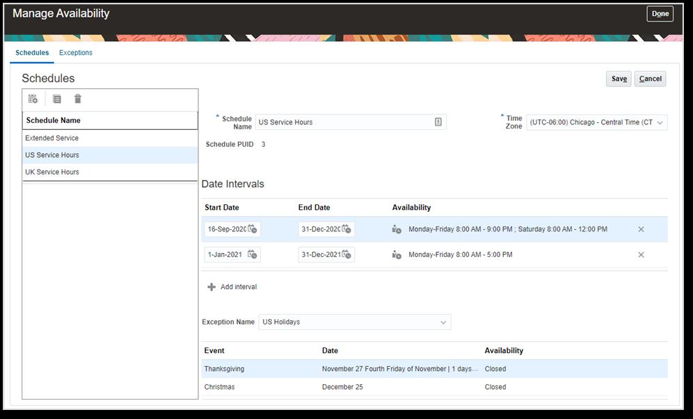 Oracle CX Service Cloud Entitlement Schedule configuration page