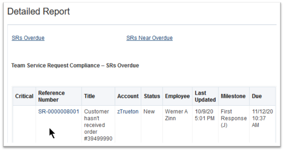 SR Compliance detailed report listing SRs with deep links
